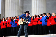 """Garth Brooks plays for President Elect Barak Obama and his wife Michelle at the """"We Are One""""  The Obama Inaugural Celebration at the Lincoln Memorial on January 18, 2009.  Photo by Dennis Brack"""