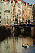 Rowers on the Vitava River. Prague, Czech Republic.