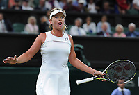 Tennis - 2017 Wimbledon Championships - Week Two, Tuesday [Day Eight]<br /> <br /> Women's Singles, Quarter Final match<br /> <br /> Magdalena Rybarikova (SVK) vs. Coco Vandeweghe (USA)<br /> <br /> Coco Vandeweghe complains to the Umpire, 2 points from defeat on  Centre Court <br /> <br /> COLORSPORT/ANDREW COWIE