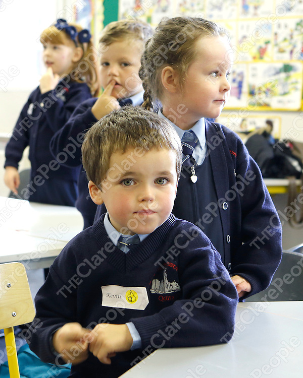 30/08/2013<br /> Kevin McCarthy and Jessica McNamara pictured at their first day of school at Quin National School on Friday.<br /> Picture: Don Moloney / Press 22