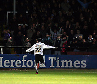 Photo: Mark Stephenson/Sportsbeat Images.<br /> Hereford United v Hartlepool United. The FA Cup. 01/12/2007.Hereford's Theo Robinson celebrates his goal for 2-0