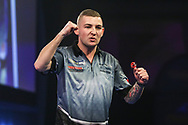 Nathan Aspinall wins the match and celebrates during the World Darts Championships 2018 at Alexandra Palace, London, United Kingdom on 19 December 2018.