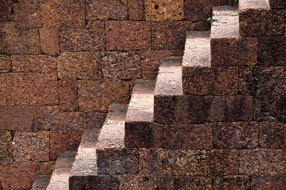 Details of a stairway in a temple in the Angkor Wat complex in Cambodia, which dates to the 12th Century.