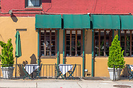 New York, NY USA August 3, 2016 Colorful outdoor dining area of a restaurant on West 22nd Street where the inside is also visible through the windows. Editorial Use Only.
