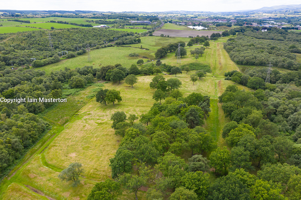 Aerial view of Rough Castle fort location ( looking to west) Roman Antonine Wall at Rough Castle, Central Region, Scotland, UK