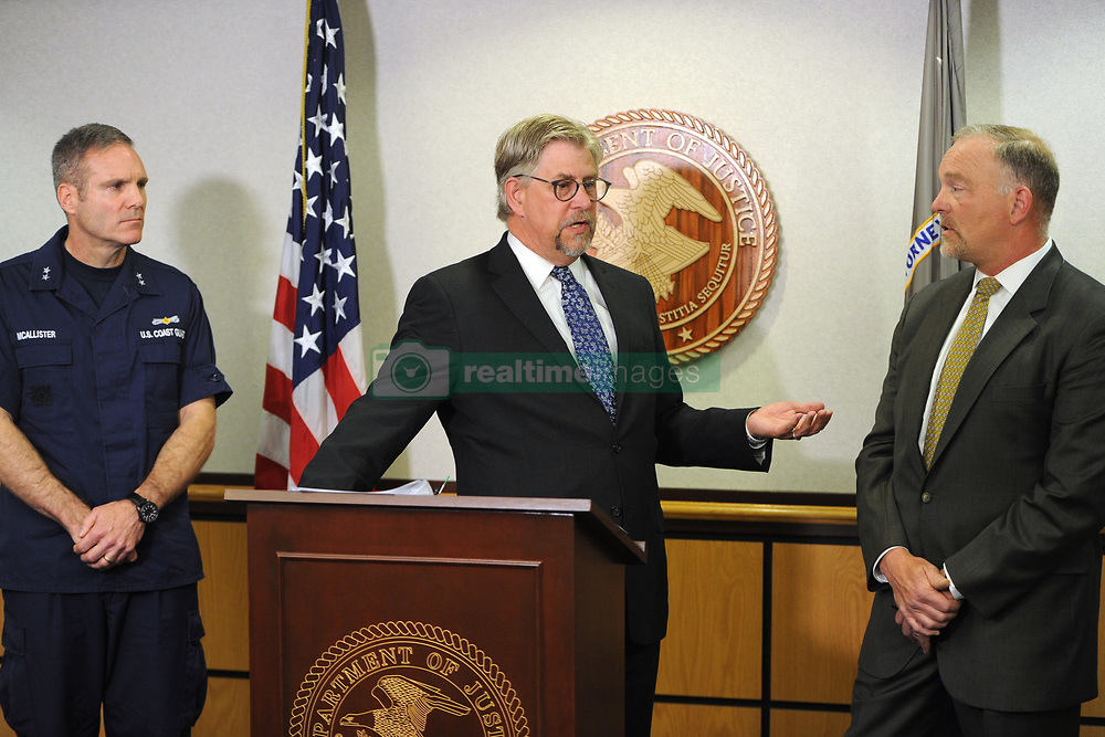 July 27, 2017 - Anchorage, AK, USA - From left, Coast Guard Rear Admiral Michael McAllister, acting U.S. Attorney Bryan Schroder, and FBI Special Agent in Charge Marlin Ritzman at a news conference in Anchorage, Alaska, on Thursday, July 27, 2017, announcing that Kenneth Manzanares of Utah has been charged with murdering his wife onboard the cruise ship Emerald Princess while in U.S. Territorial Waters in Southeast Alaska on Tuesday. (Credit Image: © Bill Roth/TNS via ZUMA Wire)