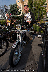 Victor Hugas of Texas on his Class-1 single-cylinder single-speed 1913 Harley-Davidson on the  during the Motorcycle Cannonball Race of the Century. Stage-1 from Atlantic City, NJ to York, PA. USA. Saturday September 10, 2016. Photography ©2016 Michael Lichter.