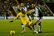 Jimmy Abdou (8) of AFC Wimbledon falls over after being challenged by Sonny Bradley (15) of Plymouth Argyle during the EFL Sky Bet League 1 match between Plymouth Argyle and AFC Wimbledon at Home Park, Plymouth, England on 13 February 2018. Picture by Graham Hunt.