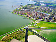 Nederland, Noord-Holland, gemeente Hollands Kroon, 07-05-2021; Wieringerwerf, Gemaal de Lely met zicht op Medemblik en het IJsselmeer.<br /> Wieringerwerf, Pumping station de Lely with a view of Medemblik and the IJsselmeer.<br /> <br /> luchtfoto (toeslag op standard tarieven);<br /> aerial photo (additional fee required)<br /> copyright © 2021 foto/photo Siebe Swart