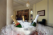 various champagne bottles in ice bucket