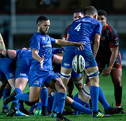 Jamison Gibson-Park of Leinster box kicks<br /> <br /> Photographer Simon King/Replay Images<br /> <br /> Guinness PRO14 Round 10 - Dragons v Leinster - Saturday 1st December 2018 - Rodney Parade - Newport<br /> <br /> World Copyright © Replay Images . All rights reserved. info@replayimages.co.uk - http://replayimages.co.uk
