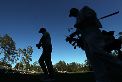 April 8, 2017 - Augusta, GA, USA - Charley Hoffman and his caddie, Brett Waldman, walk to the 14th teeduring the third round of the Masters Tournament at Augusta National Golf Club in Augusta, Ga., on Saturday, April 8, 2017. (Credit Image: © Curtis Compton/TNS via ZUMA Wire)