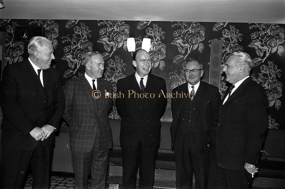 13/02/1963<br /> 02/13/1963<br /> 13 February 1963<br /> International Apprentices Competition Press Conference at the Shelbourne Hotel, Dublin to announce details of the International Trade Competitions for Apprentices to be held in Dublin from 8-13th July 1963. At the conference were (l-r): M. Gleeson, CEO, Chairman National Organising Committee; M.F. McCourt; Dr P.J. Hillery, Minister for Education, who convened the conference; Leo Crawford, Joint Secretary of the I.C.T.U. and j. Quigley of the Federated Union of Employers.