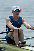 Poznan, POLAND, 21st June 2019, Friday, Morning Heats, USA. LM1X O'LEARY Matthew, FISA World Rowing Cup II, Malta Lake Course, © Peter SPURRIER/Intersport Images,<br /> <br /> 09:57:56