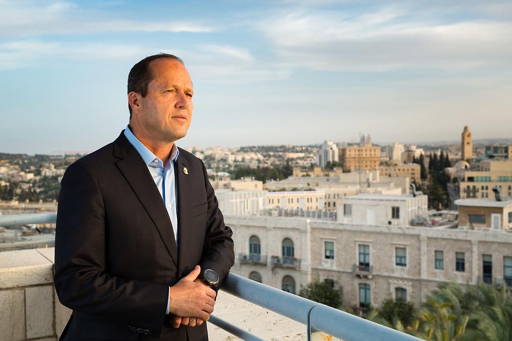Mayor of Jerusalem, Nir Barkat, poses for a portrait at his office in Jerusalem, Israel, on May 17, 2017.