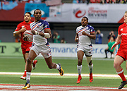 VANCOUVER, BC - MARCH 10: Perry Baker (#11) of USA strides through to score during Game # 16- Usa vs Canada Pool A match at the Canada Sevens held March 10-11, 2018 in BC Place Stadium in Vancouver, BC. (Photo by Allan Hamilton/Icon Sportswire)
