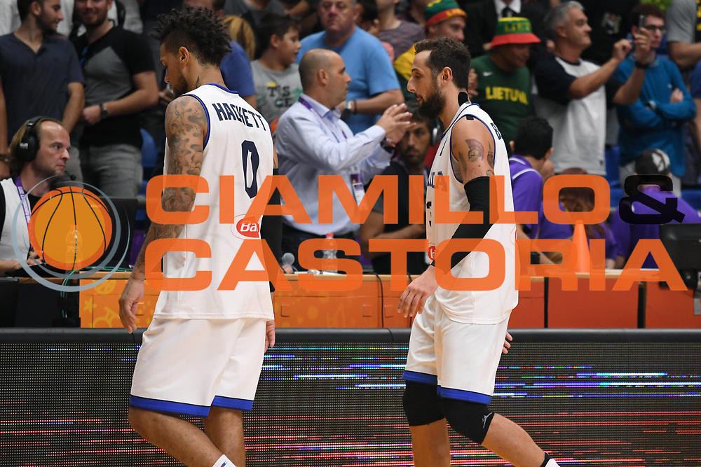 Daniel Hackett, Marco Belinelli<br /> Nazionale Italiana Maschile Senior<br /> Eurobasket 2017 - Group Phase<br /> Italia Germania Italy Germany<br /> FIP 2017<br /> Tel Aviv, 05/09/2017<br /> Foto M.Ceretti / Ciamillo - Castoria