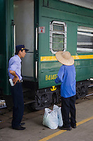 """The Vietnam North-South Railway, also known as the Reunification Express, is a railway that runs from Ha Noi to Ho Chi Minh City. The total length of this railway is 1,726 km (1,079 miles), with a gauge of 1 m (39""""). The railway passes following provinces: Ha Noi, Ha Nam, Nam Đinh, Ninh Binh, Thanh Hoa, Nghe An, Ha Tinh, Quang Binh, Quang Tri, Thua Thien-Hue, Da Nang, Quang Nam, Quang Ngai, Binh Dinh, Phu Yen, Khanh Hoa, Ninh Thuan, Binh Thuan, Dong Nai, Binh Dương, Ho Chi Minh City. The railway follows the coastline of Vietnam through beautiful coastal landscapes."""