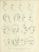 External Signs of the Passions; from Le Brun 16 facial expressions expressing various emotions. Copperplate engraving From the Encyclopaedia Londinensis or, Universal dictionary of arts, sciences, and literature; Volume XVIII;  Edited by Wilkes, John. Published in London in 1821