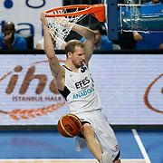 Efes Pilsen's Sinan GULER during their Turkish Basketball Legague Play-Off qualifying second match Efes Pilsen between Pinar Karsiyaka at the Sinan Erdem Arena in Istanbul Turkey on Friday 13 May 2011. Photo by TURKPIX