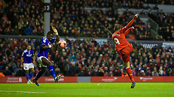 05.01.2014, Anfield, Liverpool, ENG, FA Cup, FC Liverpool vs FC Oldham Athletic, 3. Runde, im Bild Liverpool's Iago Aspas scores the first goal against Oldham Athletic // during the English FA Cup 3rd round match between Liverpool FC and Oldham Athletic FC at the Anfield in Liverpool, Great Britain on 2014/01/05. EXPA Pictures © 2014, PhotoCredit: EXPA/ Propagandaphoto/ David Rawcliffe<br /> <br /> *****ATTENTION - OUT of ENG, GBR*****