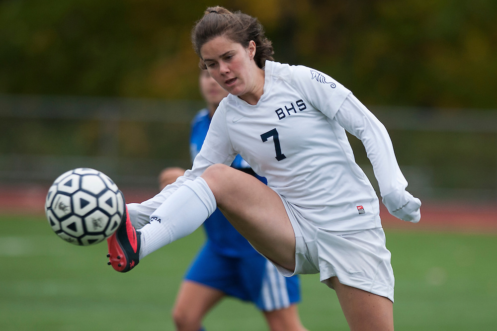 Burlington's Maddie Clark (7) plays the ball during the girls playoff soccer game between the U-32 Raiders and the Burlington Sea Horses at Buck Hard Field on Friday afternoon October 24, 2014 in Burlington, Vermont (BRIAN JENKINS, for the Free Press)