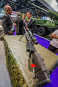 The Steyr Mannlicher Stand with 'licht weapons incl rifles and pistols - The DSEI (Defence and Security Equipment International) exhibition at the Excel Centre, Docklands, London UK 15 Sept 2015
