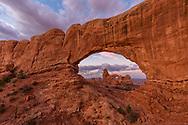 North Window framing Turret Arch, sunrise, Arches National Monument, Utah