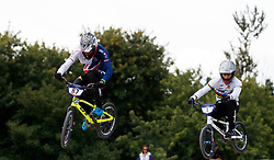 Great Britain's Kye Whyte on the way to winning his quarter final heat 4 during day ten of the 2018 European Championships at the Glasgow BMX Centre Track.