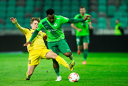 Luka Cerar of Radomlje vs Julius Wobay of NK Olimpija during football match between NK Olimpija Ljubljana and NK Kalcer Radomlje in Round #29 of Prva liga Telekom Slovenije 2016/17, on April 17, 2017 in SRC Stozice, Ljubljana, Slovenia. Photo by Vid Ponikvar / Sportida