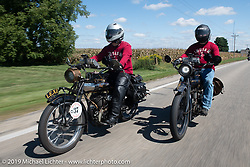Jared Rinker (left) riding alongside his twin brother Justin on their 1916 Indian Powerplus' in the Motorcycle Cannonball coast to coast vintage run. Stage 5 (229 miles) from Bowling Green, OH to Bourbonnais, IL. Wednesday September 12, 2018. Photography ©2018 Michael Lichter.
