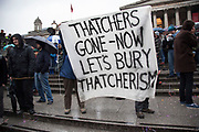 London, UK. Saturday 13th April 2013. Hundreds of people gather for the Margaret Thatcher Death Party in Trafalgar Square, to celebrate the late Prime Minister's passing away.