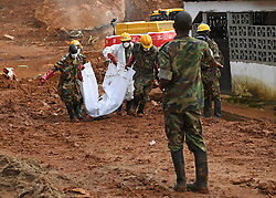 FREETOWN, Aug. 17, 2017  Bodies of the mudslide victims are tranferred out of the site of the mudslide in Freetown, capital of Sierra Leone, on Aug. 17, 2017. Altogether 331 bodies have been taken to the morgue by the rescue team following the devastating mudslide, according to Sinneh Kamara, head of the Connaught Mortuary in Freetown, capital of Sierra Leone, on Thursday. (Credit Image: © Chen Cheng/Xinhua via ZUMA Wire)