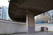 Area beneath the A38 flyover in Birmingham city centre is virtually deserted due to the Coronavirus outbreak on 31st March 2020 in Birmingham, England, United Kingdom. Following government advice most people are staying at home leaving the streets quiet, empty and eerie. Coronavirus or Covid-19 is a new respiratory illness that has not previously been seen in humans. While much or Europe has been placed into lockdown, the UK government has announced more stringent rules as part of their long term strategy, and in particular social distancing.