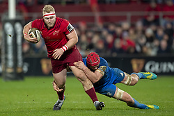 December 30, 2018 - Limerick, Ireland - Jeremy Loughman of Munster with the ball tackled by Rhys Ruddock of Leinster during the Guinness PRO14 match between Munster Rugby and Leinster Rugby at Thomond Park in Limerick, Ireland on December 29, 2018  (Credit Image: © Andrew Surma/NurPhoto via ZUMA Press)