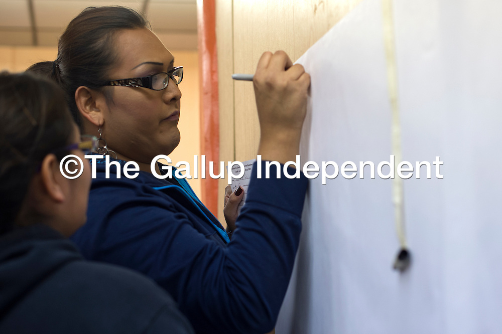 """012815      Cayla Nimmo<br /> <br /> Kendra Tennison writes the first name on the """"Wall of Recognition"""" for people who have died of unnatural causes in and around Gallup at the forum, """"Gallup: A Border Town of Violence,"""" in the Hozho Center in Gallup Wednesday night."""