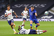 Chelsea midfielder Mateo Kovacic (17) tries to evade the challenge from Tottenham Hotspur defender Serge Aurier (24) during the EFL Cup Fourth Round match between Tottenham Hotspur and Chelsea at Tottenham Hotspur Stadium, London, United Kingdom on 29 September 2020.
