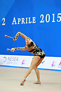 Staniouta Melitina during qualifying clubs in Pesaro World Cup April 11, 2015. Melitina is an Belarusian rhythmic gymnast, she was born in November 15, 1993 in Minsk. She is a three time World All-around bronze medalist in 2015, 2013, 2010 retired from rhythmic gymnastics in December 2016.
