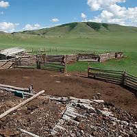 MONGOLIA. Family homestead and sheep pens near Lake Erkhel & Muren. Mongolia.