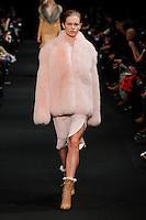 Anna Ewers (WOMEN) walks the runway wearing Altuzarra Fall 2015 during Mercedes-Benz Fashion Week in New York on February 14, 2015