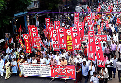 August 17, 2017 - Kolkata, West Bengal, India - Eighteen left parties activist takes part in this protest rally in Kolkata. Left parties took out a rally for protesting against rising communal tension and unrest in West Bengal and demanding restoration of peace and harmony in Kolkata on Aug 17, 2017. (Credit Image: © Saikat Paul/Pacific Press via ZUMA Wire)