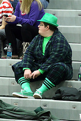 10 January 2015:  Titan fan dressed in green during an NCAA women's division 3 CCIW basketball game between the Carthage Reds and the Illinois Wesleyan Titans in Shirk Center, Bloomington IL