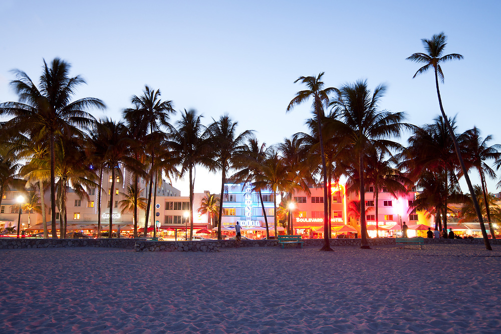 Miami, Florida, United States - Hotels, bars, restaurants and night life at Ocean Drive in South Beach.