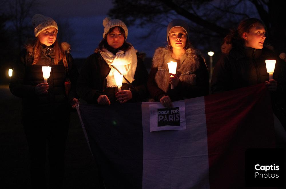 Vigil for terrorist attack in Paris outside the French Embassy in Ottawa, Canada.