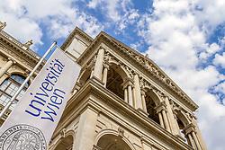THEMENBILD - Die Universitaet Wien ist die groeßte und aelteste Universitaet im deutschen Sprachraum. Das Hauptgebaeude befindet sich am Universitaetsring 1 und bildet das historische Zentrum der Universität Wien. Neben der Universitaetsleitung befinden sich dort unter anderem auch die Universitaetsbibliothek, Verwaltungseinrichtungen und Einrichtungen von Instituten und Fakultäten. Das Bild wurde am 3. August 2014 aufgenommen // THEME IMAGE – The University of Vienna is the biggest and oldest university in the German-speaking world. The main building is located at the Universitaetsring 1 and it is the historic centrum of the University of Vienna. You can find there the University Directorate, the administration and some institutes and faculties. The image was taken on the August 3, 2014. EXPA Pictures © 2014, PhotoCredit: EXPA/ Sebastian Pucher