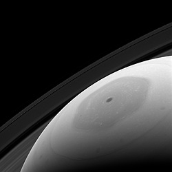 May 8, 2017 - Space - Saturn's hexagonal polar jet stream is the shining feature of almost every view of the north polar region of Saturn. The region, in shadow for the first part of the Cassini mission, now enjoys full sunlight, which enables Cassini scientists to directly image it in reflected light. Although the sunlight falling on the north pole of Saturn is enough to allow us to image and study the region, it does not provide much warmth. In addition to being low in the sky (just like summer at Earth's poles), the sun is nearly ten times as distant from Saturn as from Earth. This results in the sunlight being only about 1 percent as intense as at our planet. This view looks toward Saturn from about 31 degrees above the ring plane. The image was taken with the Cassini spacecraft wide-angle camera on Jan. 22, 2017 using a spectral filter which preferentially admits wavelengths of near-infrared light centered at 939 nanometers. (Credit Image: ? JPL-Caltech/SSI/NASA via ZUMA Wire/ZUMAPRESS.com)