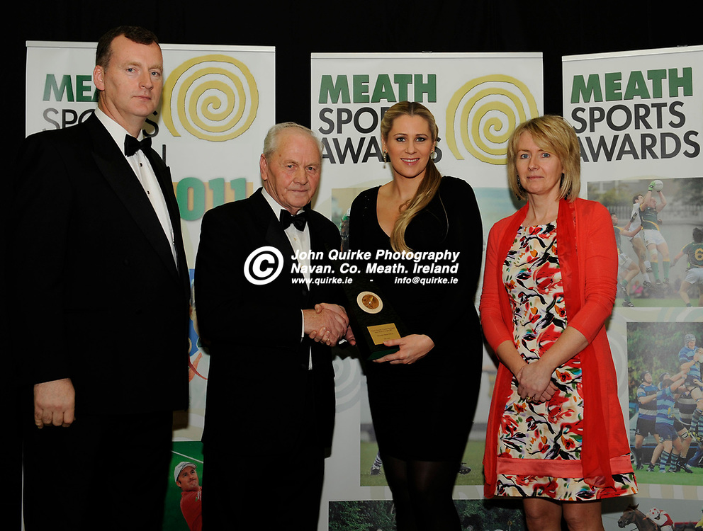 19-01-2012. Meath Chronicle / Cusack Hotel Group Sports Personalty of the Year awards 2011 at the Knightsbrook Hotel, Trim.<br /> September award winner Ger Lyons.<br /> L to R: Patrick Curran, Cusack Hotel Group. Joe Lyons representing Ger Lyons receiving the September Nominee award from Evanne Ni Chuilinn, RTE and Patricia Rogers, Meath Chronicle. <br /> Photo: John Quirke / www.quirke.ie<br /> ©John Quirke Photography, Unit 17, Blackcastle Shopping Cte. Navan. Co. Meath. 046-9079044 / 087-2579454.