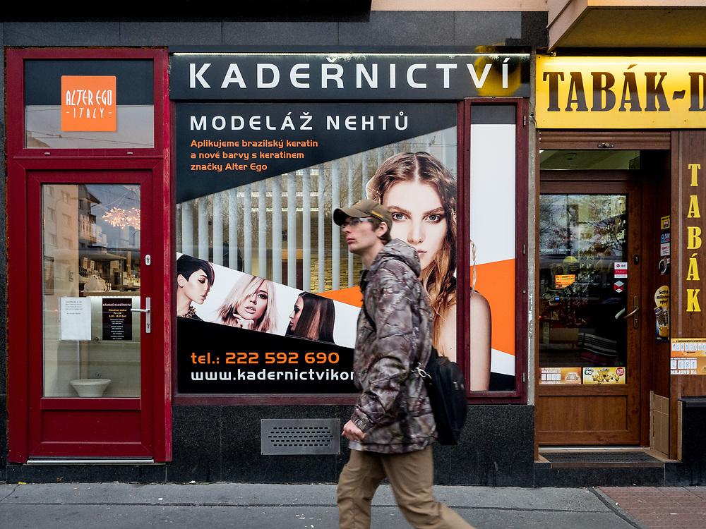 """Barber shop at """"Ohrada"""" in Prague, Žižkov."""