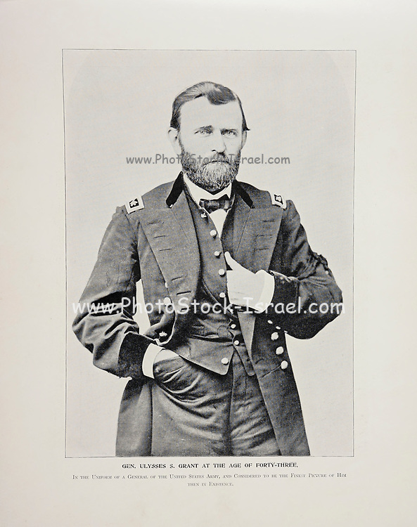 """General Ulysses S. Grant at the age of 43 from The American Civil War book and Grant album : """"art immortelles"""" : a portfolio of half-tone reproductions from rare and costly photographs designed to perpetuate the memory of General Ulysses S. Grant, depicting scenes and incidents in connection with the Civil War Published  in Boston and New York by W. H. Allen in 1894"""