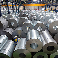 TATA Steel - Distribution Centre - steel rolls and coils stored in large warehouse